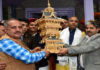 HIMACHAL CHIEF MINISTER BEING PRESENTED A MEMENTO