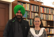SIDHU CALLS ON SONIA & PRIYANKA GANDHI
