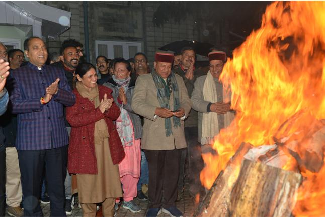 Chief Minister Jai Ram Thakur celebrating Lohri festival