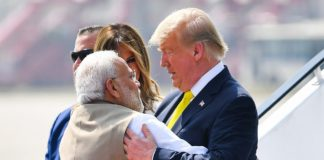 US President Donald Trump arrives in Ahmedabad, PM Modi recieves him at airport