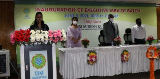 Inauguration Ceremony at IIM Armitsar (L-R) Prof Mahima Gupta, Co-chairperson MBA, Prof Nagarajan Ramamoorthy, Director, IIM Amritsar, Prof Pankaj Gupta, Co-chairperson MBA